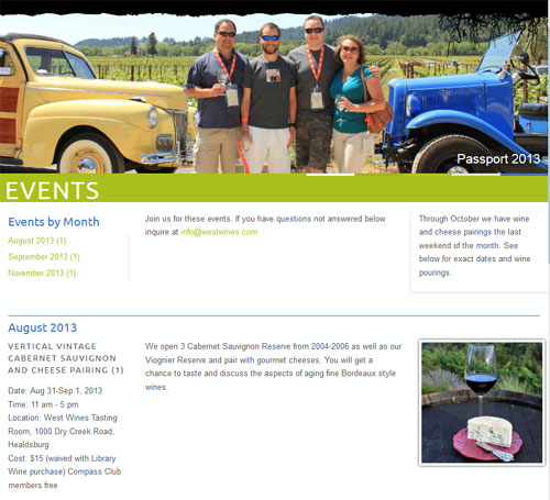 West Wines Events Application