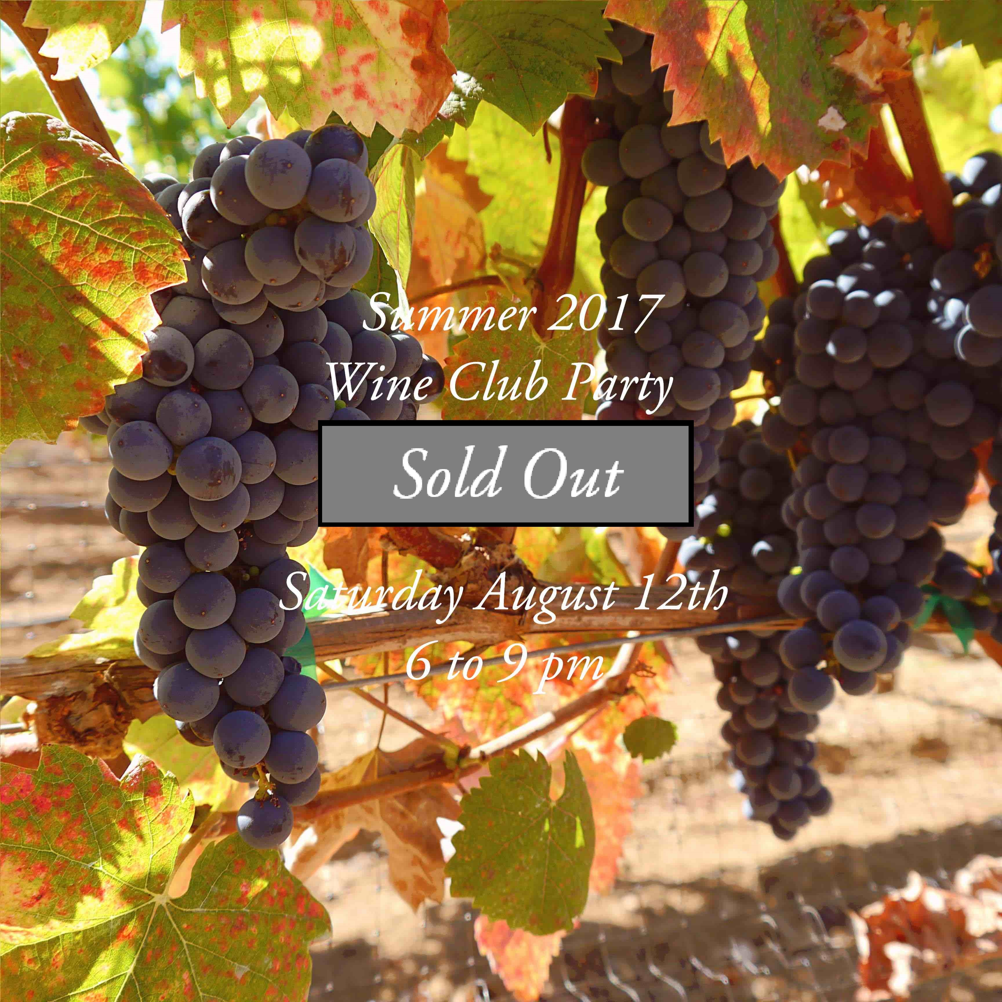 Wine Club Reservation: Saturday Aug. 12