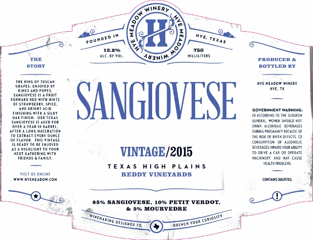 2015 Sangiovese -- New Release  Photo