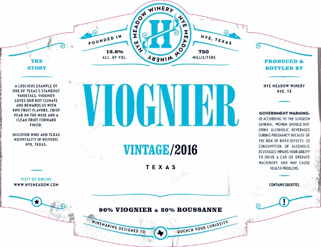 2016 Viognier -- Sold Out