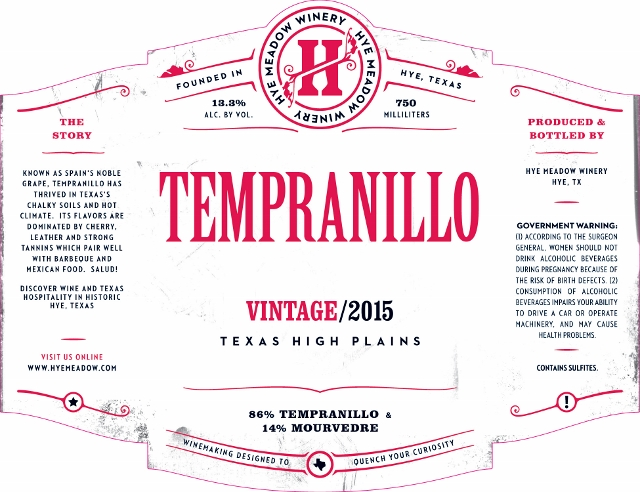 2015 Tempranillo Photo