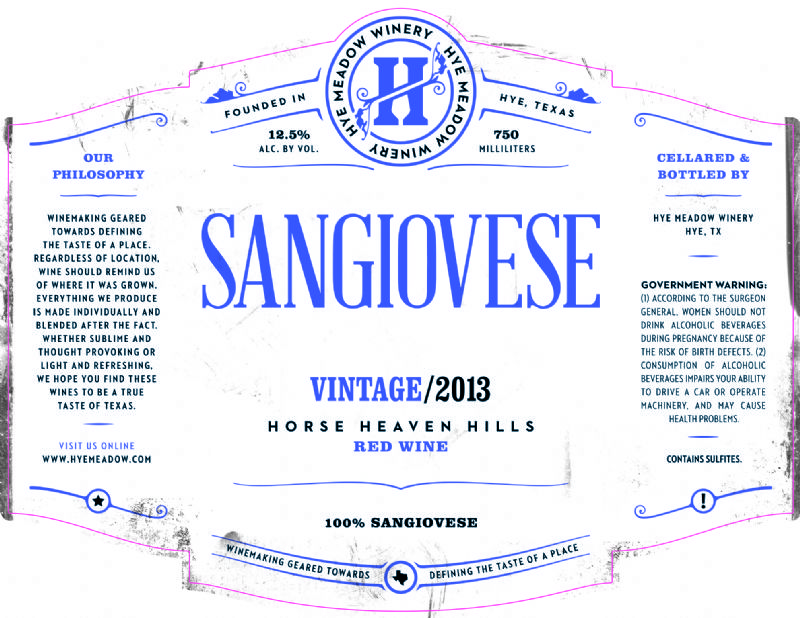 2013 Sangiovese - SOLD OUT