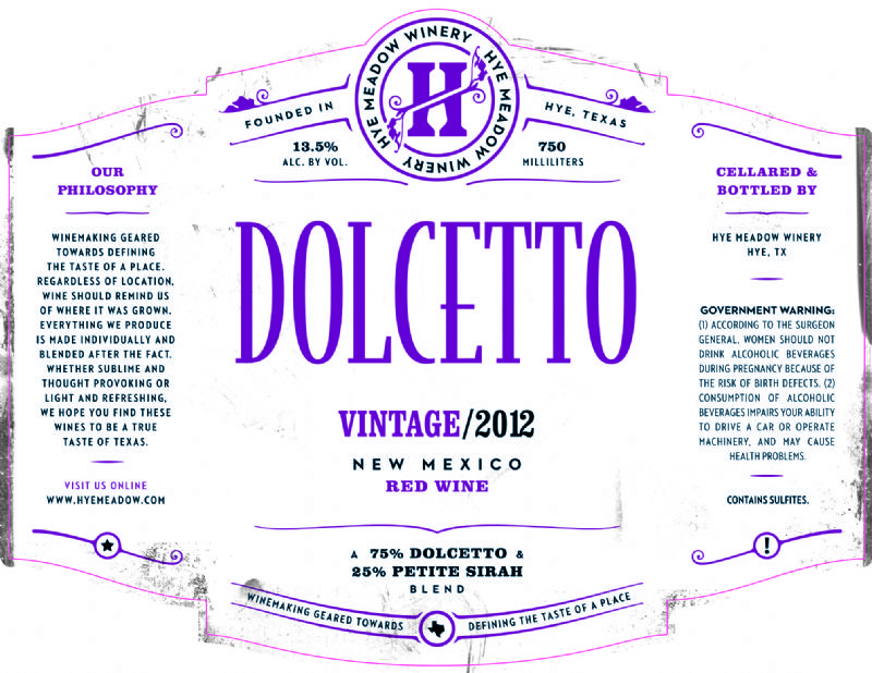 2012 Dolcetto -- Sold Out