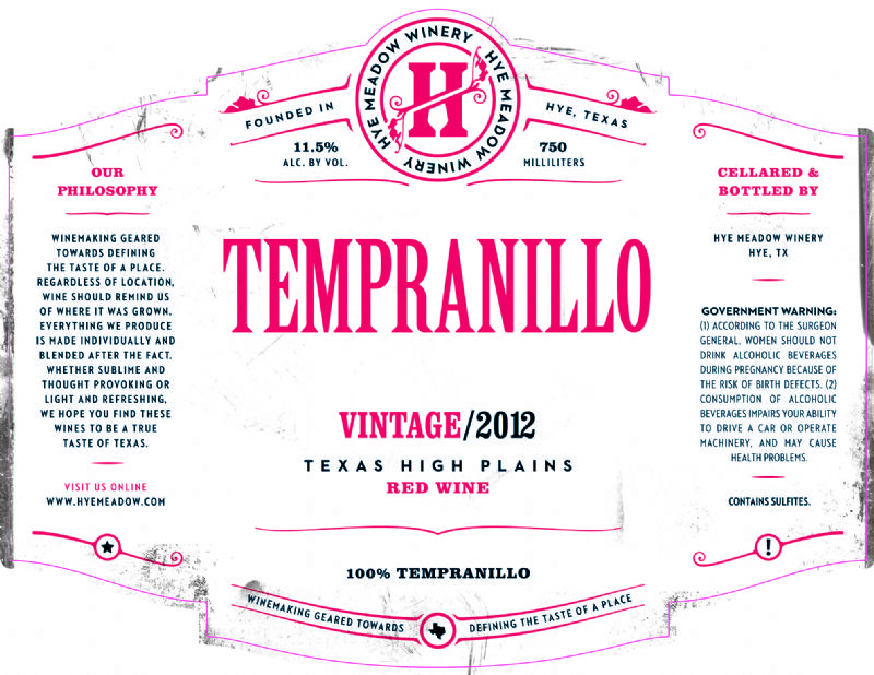 2012 Tempranillo -- SOLD OUT Photo