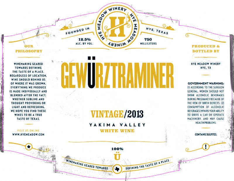 2013 Gewurztraminer -- SOLD OUT
