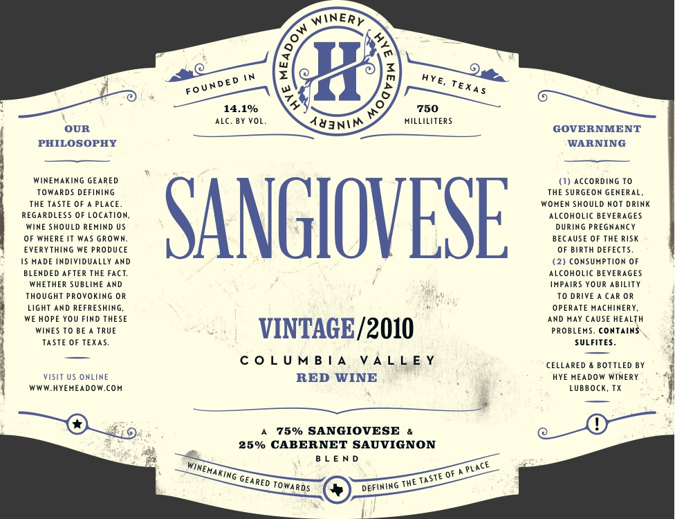 2010 Sangiovese -- SOLD OUT Photo