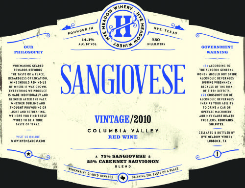 2010 Sangiovese -- SOLD OUT