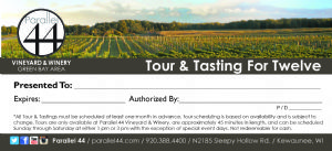 Private Tour & Tasting Certificate Photo