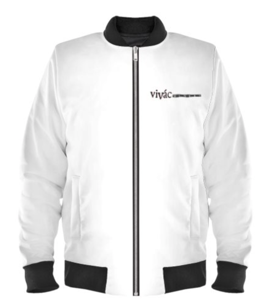 Ladies White Bomber Logo Jacket Photo