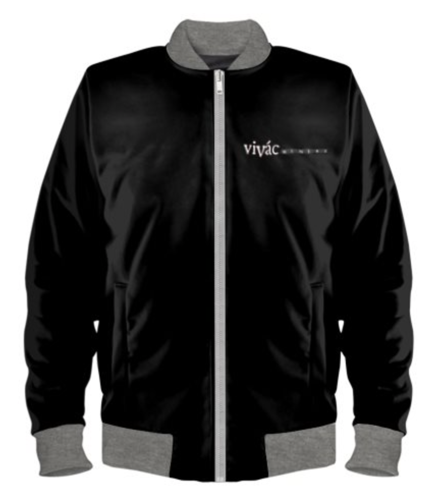 Ladies Black/Gray Bomber Logo Jacket Photo