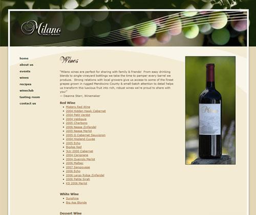 Portfolio web design milano family winery kreck design for Web designer milano